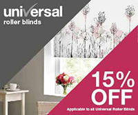 Discount on Universal Roller Blinds